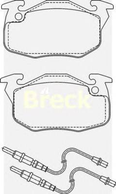 Комплект тормозных колодок, дисковый тормоз BRECK 20906 00 702 10