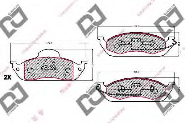 DJ PARTS (НОМЕР: BP1978) Комплект тормозных колодок, дисковый тормоз