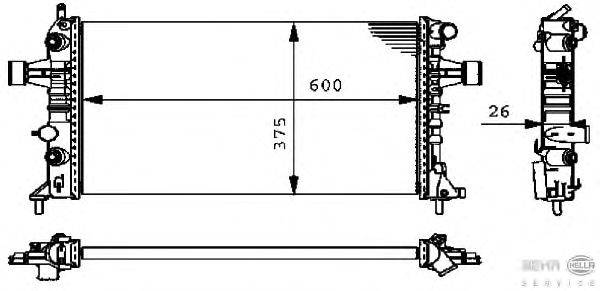 Радиатор, охлаждение двигателя BEHR HELLA SERVICE 8MK 376 710-321
