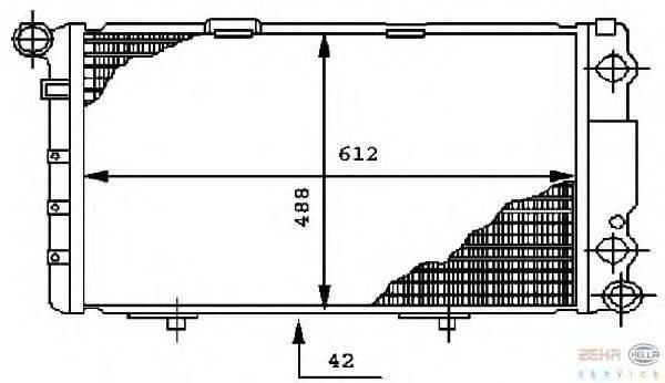 Радиатор, охлаждение двигателя BEHR HELLA SERVICE 8MK 376 712-261