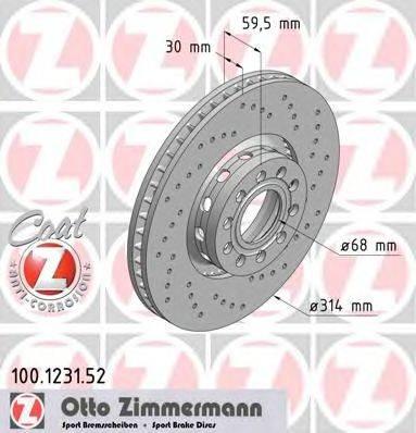 Тормозной диск ZIMMERMANN 100.1231.52