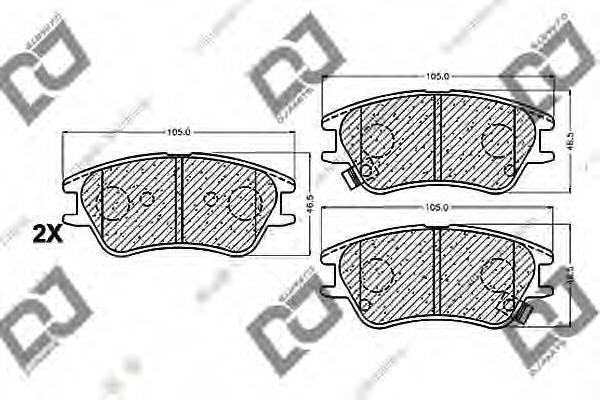 Комплект тормозных колодок, дисковый тормоз DJ PARTS BP1134