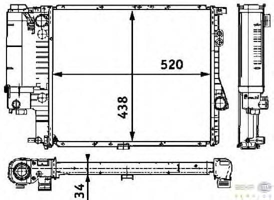 Радиатор, охлаждение двигателя BEHR HELLA SERVICE 8MK 376 711-244