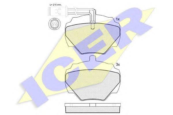 Комплект тормозных колодок, дисковый тормоз ICER 140702