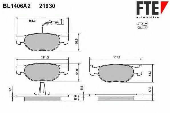 FTE (НОМЕР: BL1406A2) Комплект тормозных колодок, дисковый тормоз