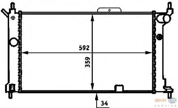 Радиатор, охлаждение двигателя BEHR HELLA SERVICE 8MK 376 713-581