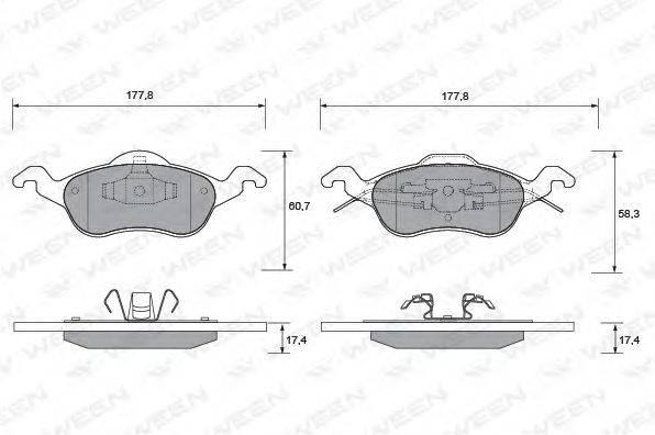 Комплект тормозных колодок, дисковый тормоз WEEN 151-1112