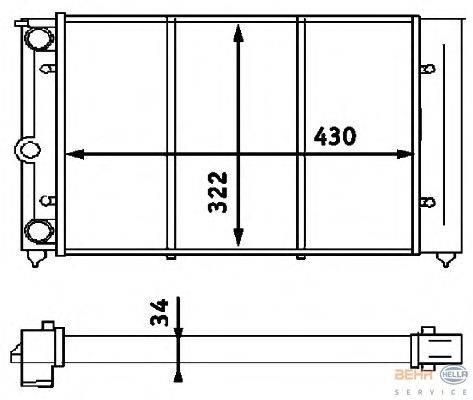 Радиатор, охлаждение двигателя BEHR HELLA SERVICE 8MK 376 713-324