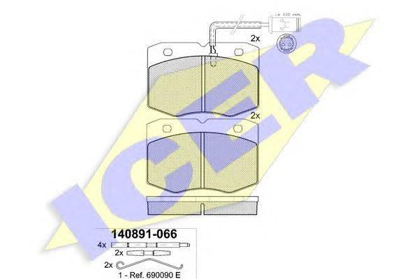 Комплект тормозных колодок, дисковый тормоз ICER 140891
