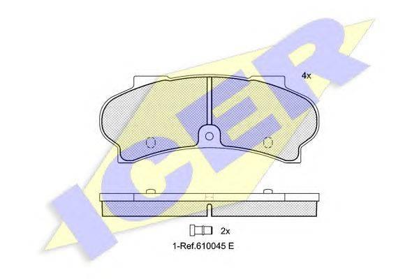 Комплект тормозных колодок, дисковый тормоз ICER 140187