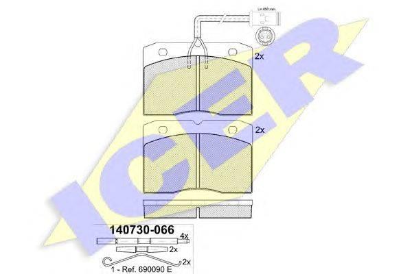 Комплект тормозных колодок, дисковый тормоз ICER 140730