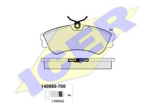 Комплект тормозных колодок, дисковый тормоз ICER 140880-700