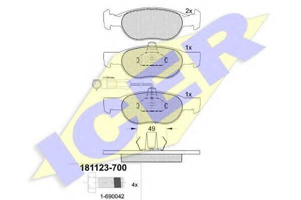 ICER (НОМЕР: 181123) Комплект тормозных колодок, дисковый тормоз