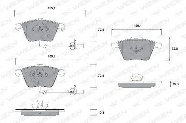 Комплект тормозных колодок, дисковый тормоз WEEN 151-1260