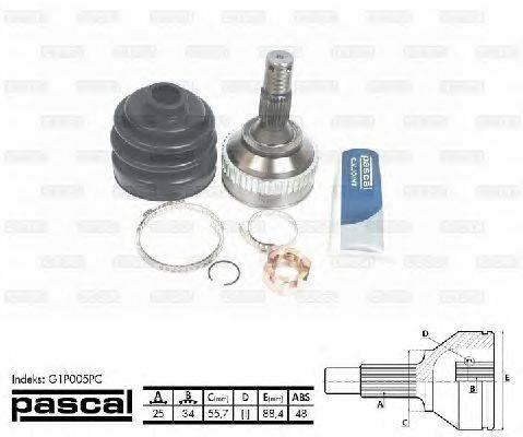 PASCAL (НОМЕР: G1P005PC) Шарнирный комплект, приводной вал