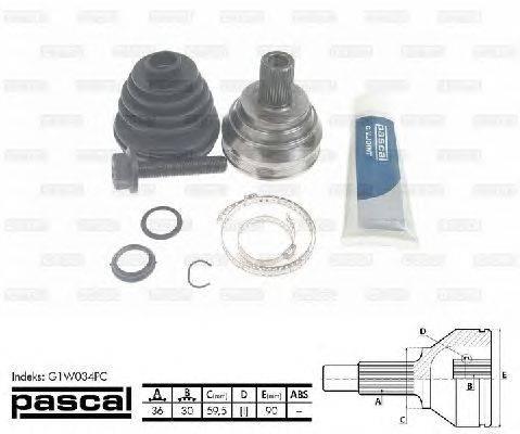 PASCAL (НОМЕР: G1W034PC) Шарнирный комплект, приводной вал