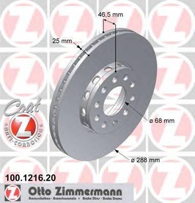 Тормозной диск ZIMMERMANN 100.1216.20