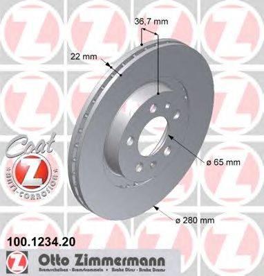 Тормозной диск ZIMMERMANN 100.1234.20