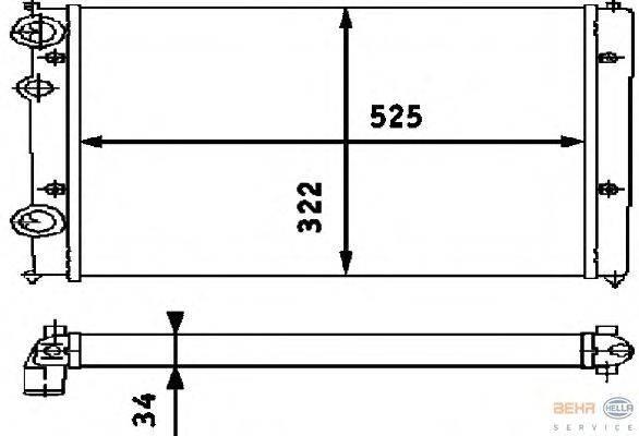 Радиатор, охлаждение двигателя BEHR HELLA SERVICE 8MK 376 713-751