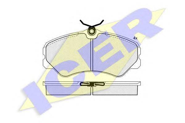 Комплект тормозных колодок, дисковый тормоз ICER 140783