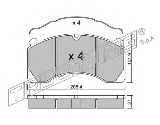 TRUSTING (НОМЕР: 619.0) Комплект тормозных колодок, дисковый тормоз
