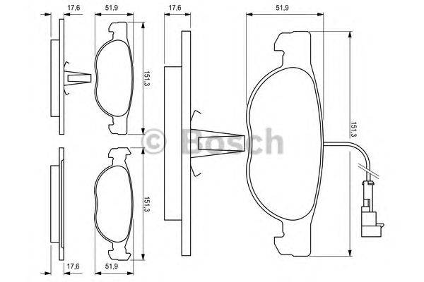 BOSCH (НОМЕР: 0 986 424 246) Комплект тормозных колодок, дисковый тормоз