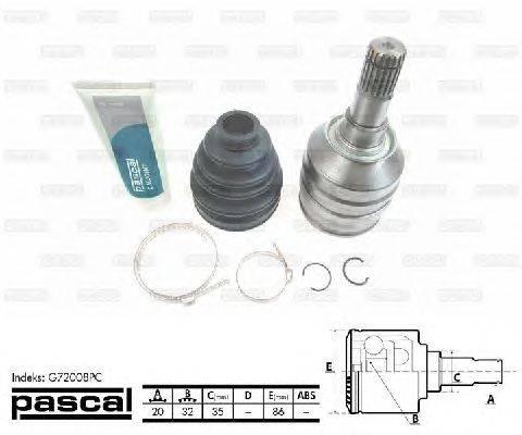 PASCAL (НОМЕР: G72008PC) Шарнирный комплект, приводной вал