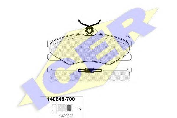 Комплект тормозных колодок, дисковый тормоз ICER 140648-700