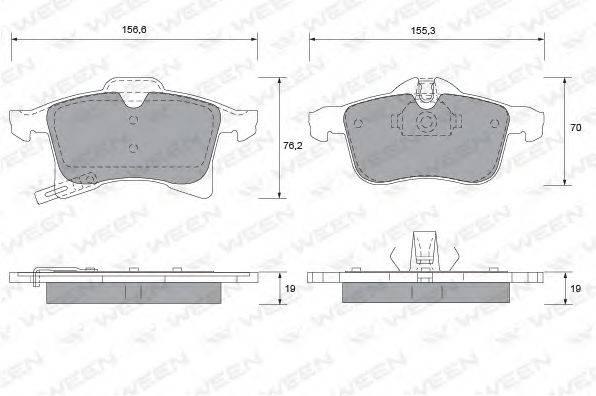 Комплект тормозных колодок, дисковый тормоз WEEN 151-1111