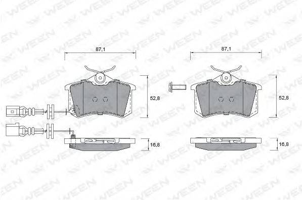 Комплект тормозных колодок, дисковый тормоз WEEN 151-1247