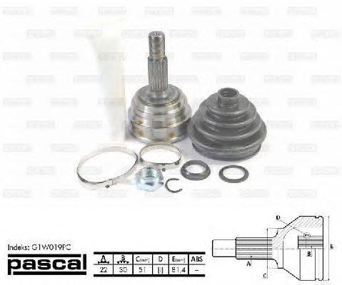 PASCAL (НОМЕР: G1W019PC) Шарнирный комплект, приводной вал