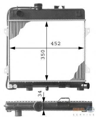 Радиатор, охлаждение двигателя BEHR HELLA SERVICE 8MK 376 713-261