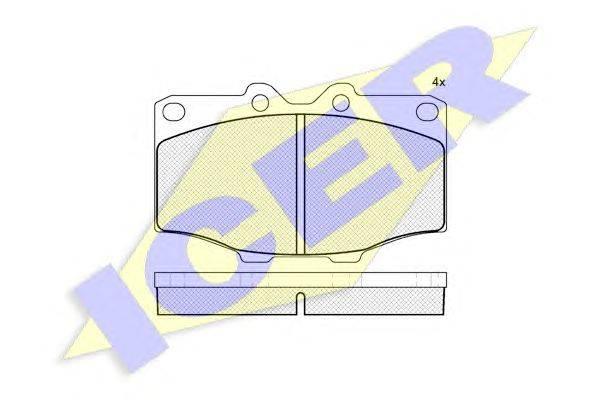 Комплект тормозных колодок, дисковый тормоз ICER 140352