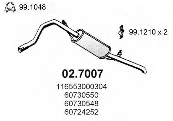 Глушитель выхлопных газов конечный ASSO 02.7007