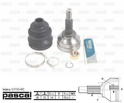 PASCAL (НОМЕР: G1Y014PC) Шарнирный комплект, приводной вал