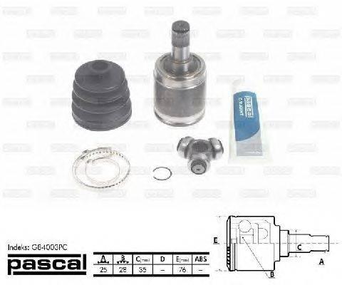 PASCAL (НОМЕР: G84003PC) Шарнирный комплект, приводной вал