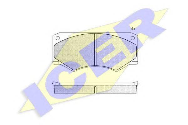 Комплект тормозных колодок, дисковый тормоз ICER 140279