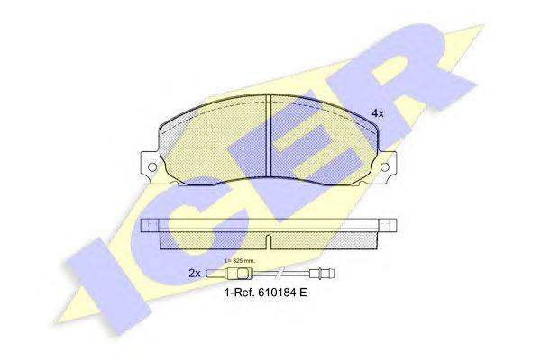 Комплект тормозных колодок, дисковый тормоз ICER 140620