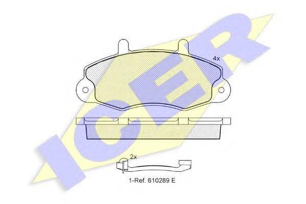 Комплект тормозных колодок, дисковый тормоз ICER 140896-203