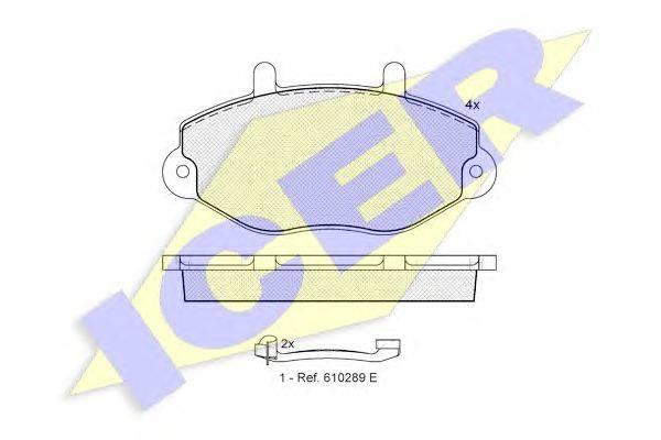 Комплект тормозных колодок, дисковый тормоз ICER 140897-203