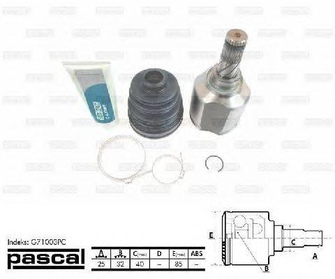 PASCAL (НОМЕР: G71003PC) Шарнирный комплект, приводной вал