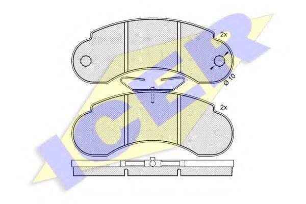 Комплект тормозных колодок, дисковый тормоз ICER 140452