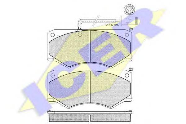 Комплект тормозных колодок, дисковый тормоз ICER 140731