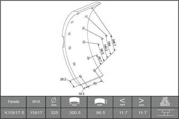 Комплект тормозных башмаков, барабанные тормоза BERAL 1581712106015603