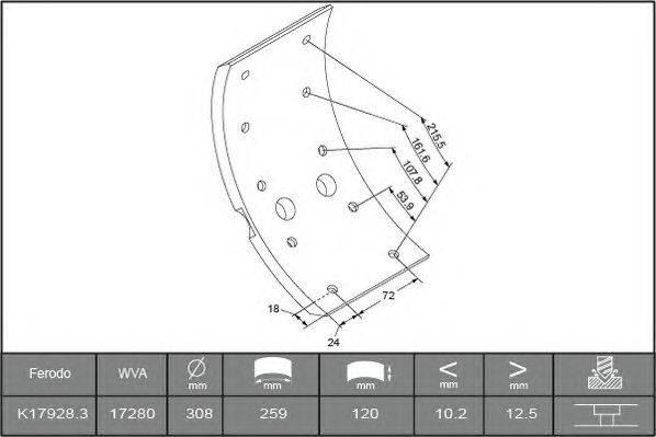 Комплект тормозных башмаков, барабанные тормоза BERAL 1728013500015614