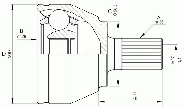 Шарнирный комплект, приводной вал OPEN PARTS CVJ5643.10