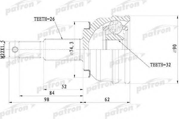 Шарнирный комплект, приводной вал PATRON PCV9819