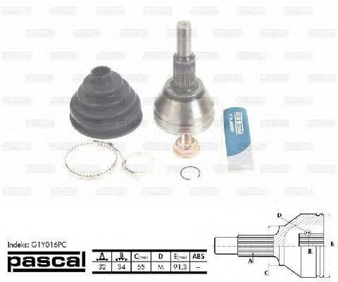 PASCAL (НОМЕР: G1Y016PC) Шарнирный комплект, приводной вал