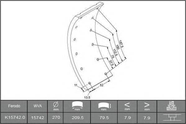 Комплект тормозных башмаков, барабанные тормоза BERAL 1503008006015613