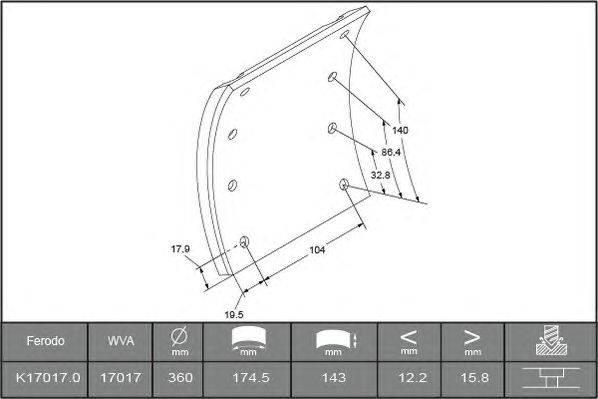 Комплект тормозных башмаков, барабанные тормоза BERAL 1701716006016498